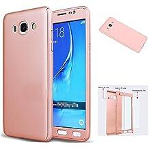 Funda Samsung Galaxy Grand Prime [ 360 °] Protectora + Vidrio Templado, LXHGrowH Funda Case Cover Carcasa para Samsung Galaxy Grand Prime G530 Color Rosado