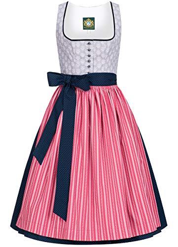 Hammerschmid Damen Trachten-Mode Midi Dirndl Schliersee in Grau traditionell, Größe:44, Farbe:Grau