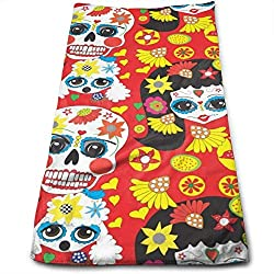 "ewtretr Toallas De Mano,Calaveras Sugar Skull Microfiber Beach Towel Large & Oversized - 11.8""X27.5"" Towels, Best for Outdoor, Sports, Travels, Quick Drying and Super Absorbent Technology"