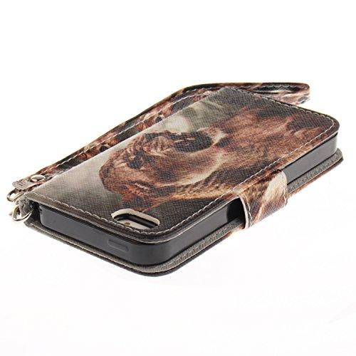 Custodia iphone SE / 5 / 5S Cover ,COZY HUT Flip Caso in Pelle Premium Portafoglio Custodia per iphone SE / 5 / 5S, Retro Animali di cartone animato Modello Design Con Cinturino da Polso Magnetico Sna Leone