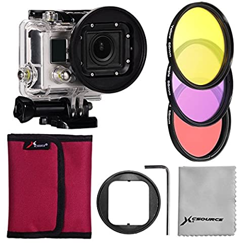 XCSOURCE Filter Kit 3PCS Color Filters (Rose + Purple +Yellow) + 58mm Filter Adapter + Rose Filter Case + Lens Cleaning Cloth For Gopro Hero 3 LF364