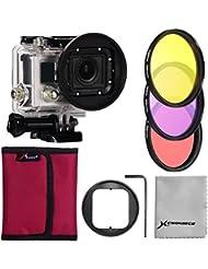 XCSOURCE® Pro Filter Kit Satz 3PCS Farbfilter (Rose + Lila+ Gelb)+ 58mm Filter Adapter + Rose Filter Case + Objektiv-Reinigungstuch für Gopro Hero 3+ LF364