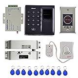 Homyl Fingerprint Türöffner,Tür Access Kontrolle , 1 x RFID Zugangskontrolle Gerät , 1 x Elektroschloss, 1 x Türklingel , 10 x RFID Karte