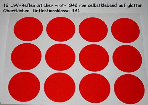 UvV-Shop Reflektoren Sticker Aufkleber, 12 Stück Ø42 mm Sicherheit durch reflektierende Folie (rot)