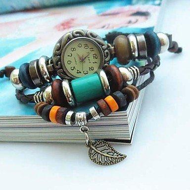 stile-vintage-foglia-collana-della-vigilanza-del-braccialetto-di-quarzo-analogico-fascia-di-cuoio-fa