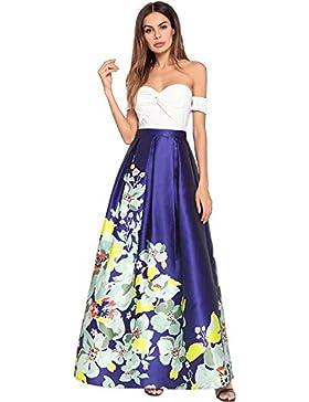 Mujeres Tube Top sin tirantes de impresión Swing Maxi Dress Party Dre Sexy alta cintura Colormatch Zipper una...