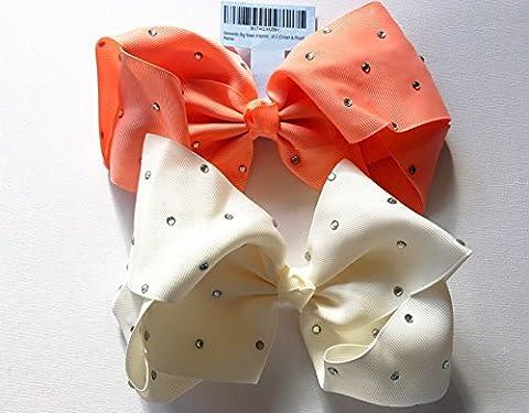 Memento Big Bows inspired by Jojo Siwa Jojo Bows Set of 2 (Cream & Peach Stud)