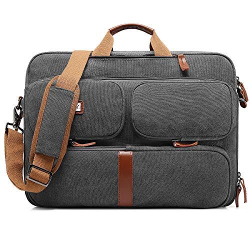 CoolBell umwandelbar Messenger Bag Aktentasche Rucksack Herren Umhängetasche 17,3 Zoll Business Backpack Laptoptasche Notebook Schultertasche Kuriertasche Mehrzweck Reiserucksack(Canvas Grau)
