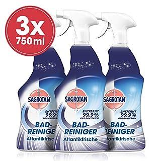 Sagrotan Bad-Reiniger Atlantikfrische - Desinfektionsreiniger für zuverlässige Hygiene im Badezimmer - 3 x 750 ml Sprühflasche mit neuem Sprühkopf im Vorteilspack