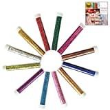 LHKJ 12 pezzi Set di Glitter Polvere, DIY Polveri Glitterate Colorate per Viso, Unghie, Card Making,Album Ritagli