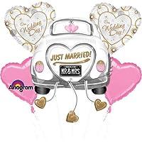 Just Married matrimonio-auto fiori enormi fogli palloncino