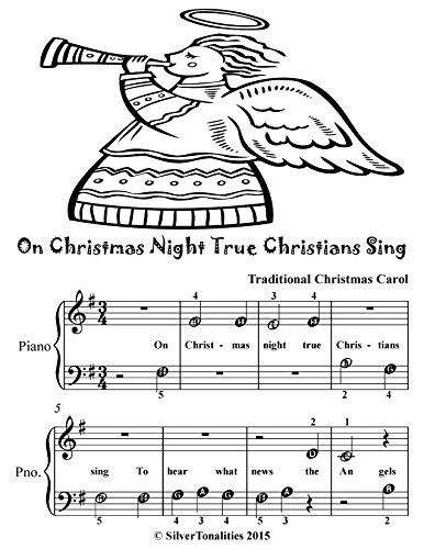 On Christmas Night True Christians Sing Beginner Piano Sheet Music Tadpole (English Edition)