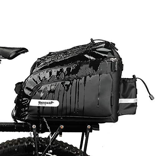 Rhinowalk Fahrradtasche Fahrradtasche Gepäcktasche 17L,(für Fahrrad Gepäckträger Satteltasche Umhängetasche Laptop Gepäckträger Fahrradtasche Professionelles Fahrradzubehör) schwarz