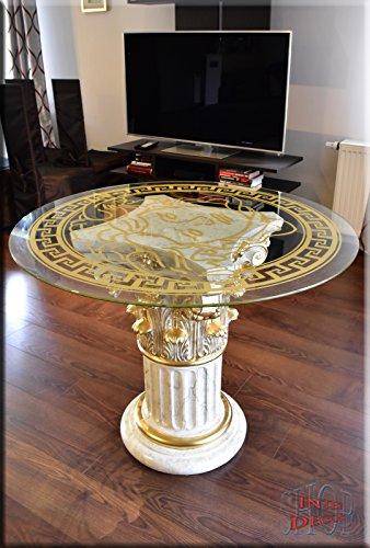 InterDecorShop Griechischer Esstisch Wohnzimmertisch Tisch Glastisch Marmor Optik Säule Medusa 100cm -