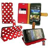 Emartbuy® HTC Desire 620 Premium PU Leather Desktop Ständer Mappen Kasten Abdeckungs Beutel Wallet Book Polka Dots Rot Weiß Bei KRotitkartensteckplätze
