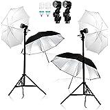 Kit de studio photo parapluie éclairage continu, 2 x 85W ampoule lumière du jour, 2 x trépieds de lampe, 2 x parapluie translucide et 2 x parapluie réflecteur fiche EU