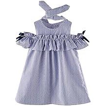 009fe3af53c67 Amlaiworld Conjunto de ropa bebé niña Vestidos a rayas de manga corta de  Princesa