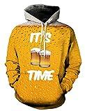 Leapparel 3D Cool Kapuzen Pullover Sweatshirt Top für Männer und Frauen mit Warm Hoody Lustige Grafik gedruckt Jacke Gelb Bier L/XL