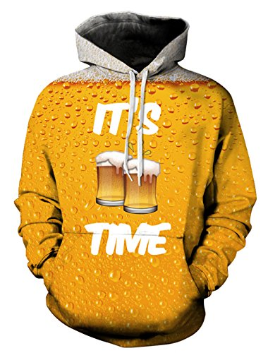 Leapparel buntes 3D PulloverHoodie-Sweatshirt für Jungen und Mädchen mit großer Taschen-kühler grafischer Druck-Mantel-Gelb-Bier S / M (Großes T-shirt Bier)