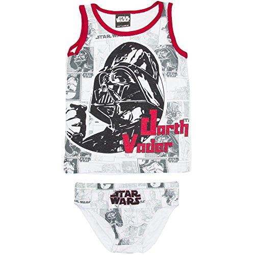 Kinder Jungen Unterwäsche Star Wars Darth Vader Strumtuppler 2-teilig Hemd u. Unterhose (weiß-rot, 104-110)