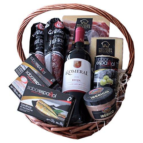Iberico Tapasset / Geschenkkorb – Präsentkorb Pata Negra Reserva – Chorizo Bellota – Rotwein Rioja