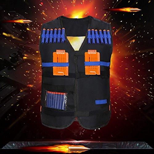 Yosoo Kids Elite Tactical Vest with 20pcs Soft Foam Darts for Nerf Gun N-strike Elite Series Not Including 2 Clips