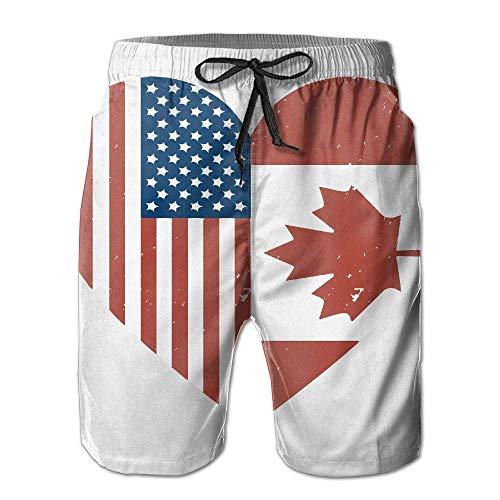 tyui7 Herren Sommer Kanada American Flag Schnelltrocknend Badehose Boader Shorts Beach Badeanzug Sport, Größe L