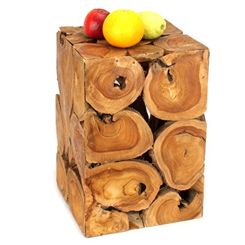 Wuona Objects Teakholz Quader - 45 cm - Vasen Ständer aus Holz - Handarbeit Bali