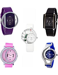 Briota New Fashion Multi Dial Color With Multi Color Strap Analogue Watch For Girls & Women Pack Of 5
