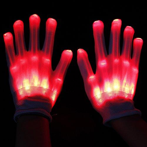 ESUMIC® Raver geschwärzt Handschuhe LED Skeleton Single Color Light Show Handschuhe (Die Unglaublichen Halloween Familie Kostüme)