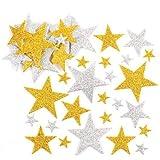Baker Ross Glitzerstern-Aufkleber in Gold und Silber für Kinder zum Basteln und Dekorieren zu Weihnachten für Jungen und Mädchen (150 Stück)