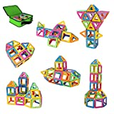 Magnetic Building Blocks, Newisland 40 Pcs Magnet Blocks Set, Kids Magnetic Toys Construction Stacking kits, Building Tiles Blocks for Creativity Educational, Come with Zipper Carrying Bag