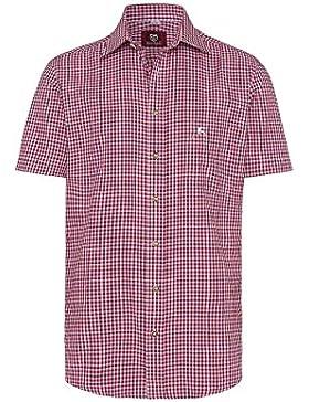 OS Trachten Moser Trachten Trachtenhemd Kurzarm Rot Karo 112625 von, Material Baumwolle