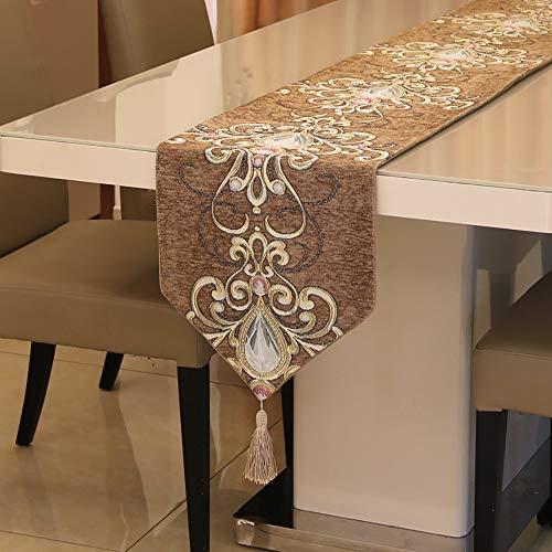 HIMFL Europäischer Stil Chenille Juwel Tischläufer Luxus-Klassik Westliche Tabelle Kaffetisch Weiche Kleidung Drucken Muster Tischtuch Dekorationen 32 * 210 cm
