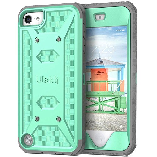 ULAK iPod Touch 6 Case,iPod Touch 5 Case,[Knox Armor] Dual Layer Hybrid Protective Cover with Belt Clip Retail Packaging - Green (Grüner Touch 5 Ipod Ulak)
