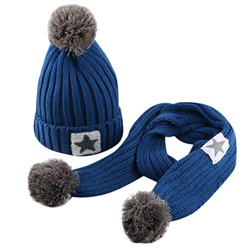 QinMM Infantil bebé Sombrero y Bufandas de Punto otoño Invierno niños niñas. eb7e4584477