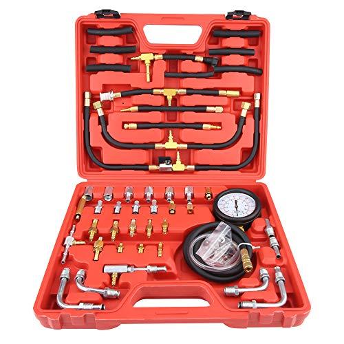 Kraftstoffeinspritzungsprüfgerät-Kit, Universal Benzin-Kraftstoffdruckprüfgerät-Tester Kraftstoffeinspritzungspumpe-Diagnosetool-Kit -