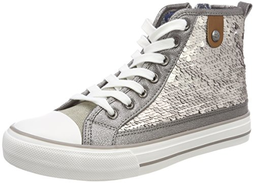 Fritzi aus Preussen Damen Hanna Toe Cap Sequin Hohe Sneaker, Silber (Silver), 40 EU