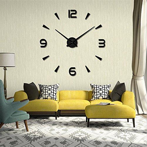 Ubaymax orologio da parete adesivo,3d mirror modern wall clock,diy large watch removibili per camera/home decoration (nero-new)