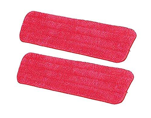 Hosaire 2X Housse de nettoyage de rechange pour balai plat nettoyage en microfibre Rouge(42 * 13cm)