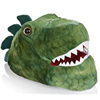 Dannii Matthews Novelty Childrens T-Rex Dinosaur Slippers with Foot in Mouth Design, Green, Sizes: 2/3