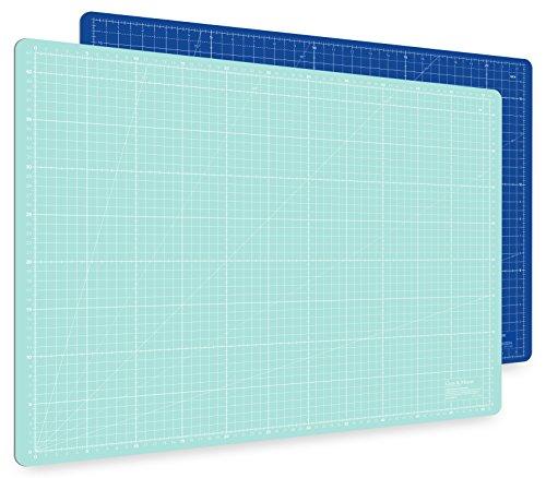Guss & Mason Selbstheilende Schneidematte A2 in Blau, Pink, Grün. Perfekt zum Nähen, Basteln und Patchworken. 60x45 beidseitig Bedruckt. cm und inch Angabe