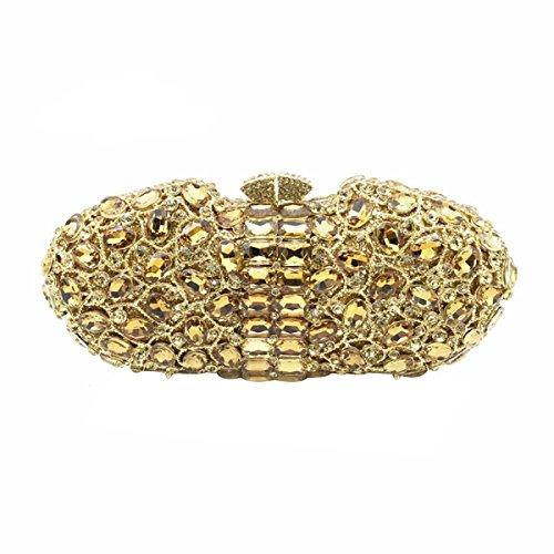 Lady Sacchetto Del Pranzo Cristallo Di Diamante Diamante Portafoglio Pacchetto Borsa Banchetto Borsa Da Sposa Gold