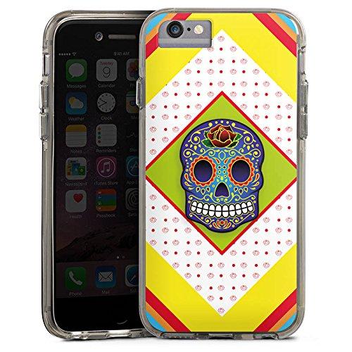 Apple iPhone 6s Bumper Hülle Bumper Case Glitzer Hülle Skull Colourful Bunt Bumper Case transparent grau