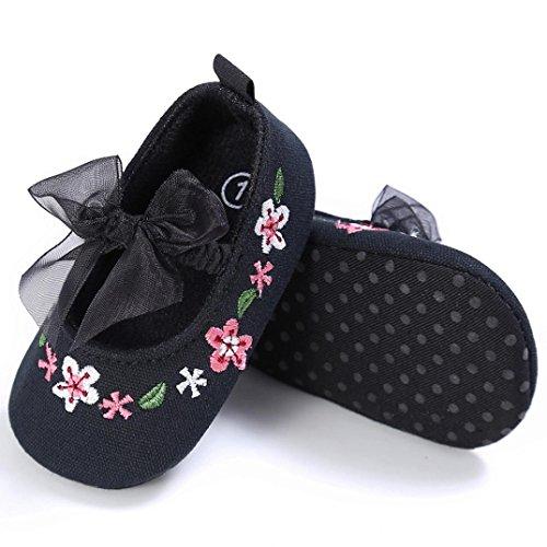 Hunpta Kleinkind Mädchen niedlich Krippe Schuhe Blume Neugeborenen Blume weiche Sohle Anti-Rutsch-Baby Sneakers (Alter: 6 ~ 12 Monate, Rosa) Schwarz