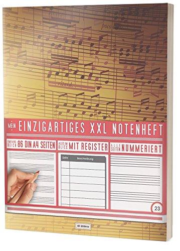 """Mein Einzigartiges XXL Notenheft: 86 Seiten, 44 Blätter, 12 Systeme / Mit Register und Seitenzahlen / DIN A4 Soft Cover / PR301 """"Vintage Design"""""""