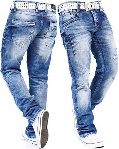 Cipo & Baxx Herren Jeans Mens Pants Freizeit-hose Clubwear Designer Style Top Blau