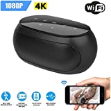 TECHNOVIEW 4K Spy Camera Hidden in WiFi Bluetooth Speaker Wireless Camera, 1080p HD Audio and Video Recording with Remote View, Motion Detection, Spy Cam for Home Office Room Nanny Hidden