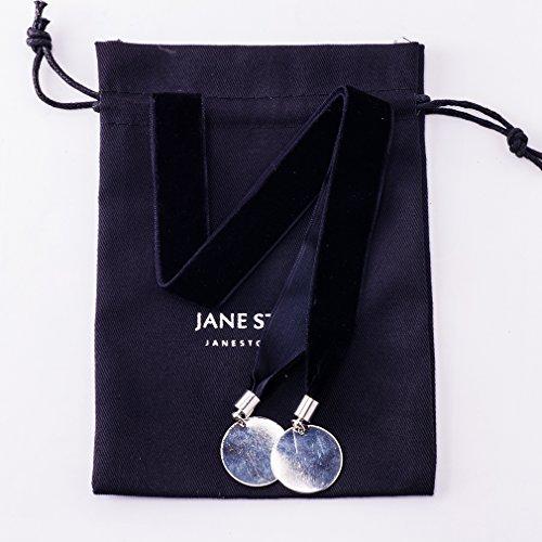 Jane Stone Collier Tatouage Ras du Cou en Velours Noir Rond Feuille Vintage Femme Bijoux Tendance Pendentif Argent
