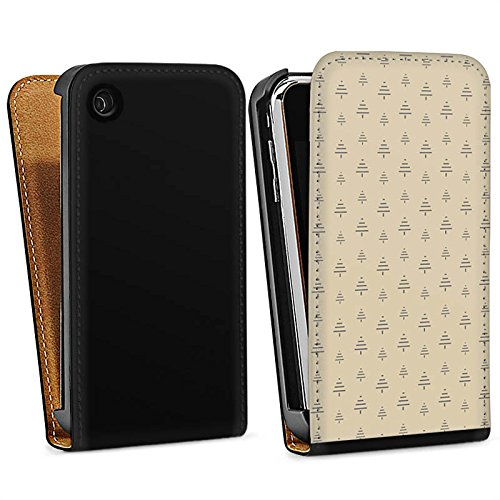 Apple iPhone 7 Silikon Hülle Case Schutzhülle Tanne Weihnachten Muster Downflip Tasche schwarz